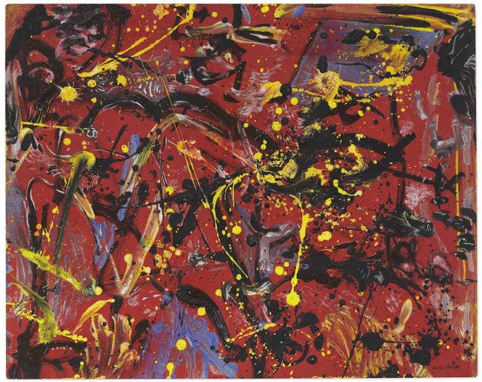 "Jackson Pollock, ""Red Composition"" (1946). An abstract painting primarily red, with streaks of blue, black, and yellow on canvas."